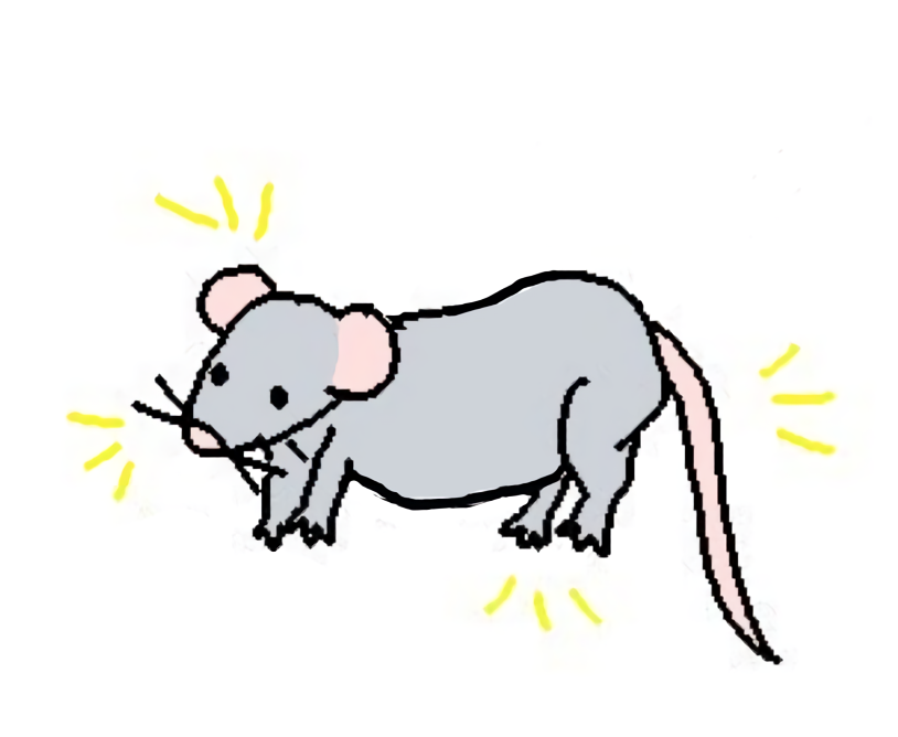 """A mouse from """"a rat"""" from """"my silly comics"""", cleaned up and run through Waifu 2x"""